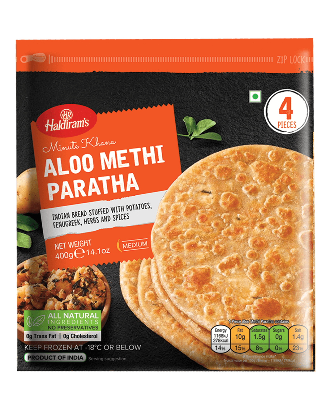 Healthy Aloo Methi Paratha(400gms)
